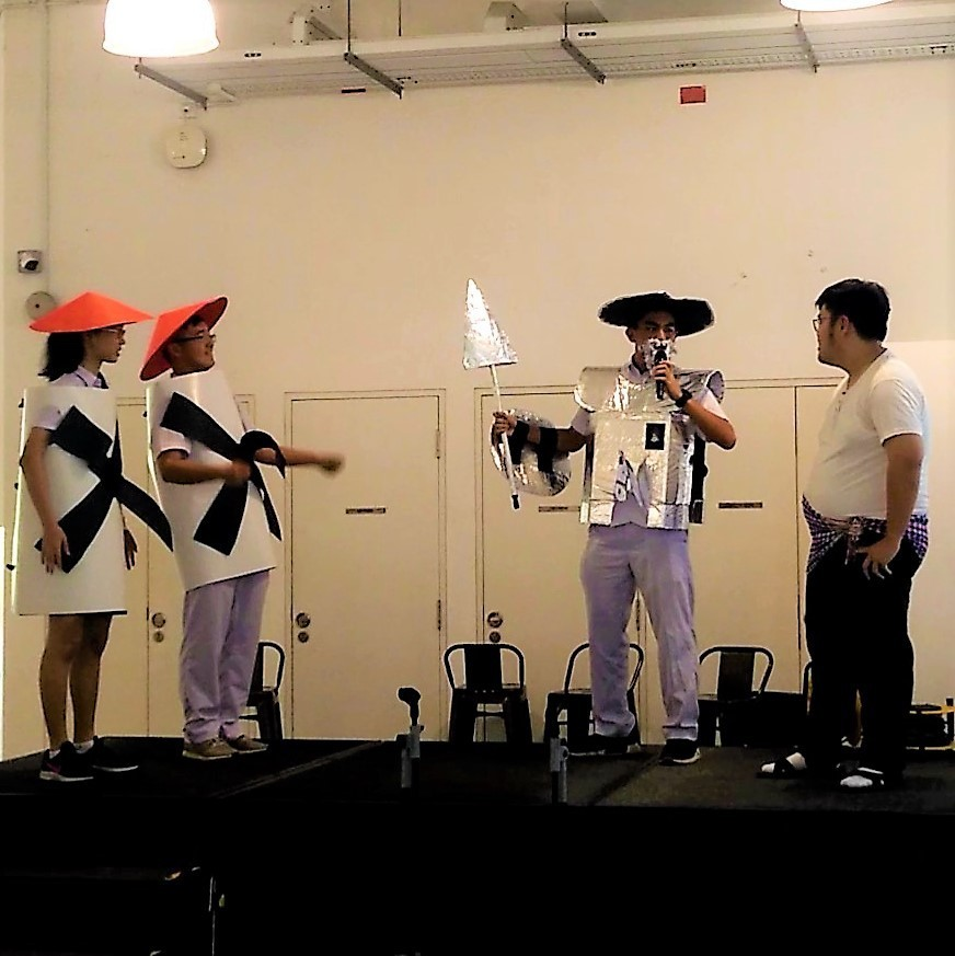 Group2 Spanish Ab Initio students performing an excerpt from Don Quixote.JPG